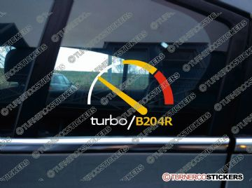 Turbo B204R, boost gauge themed sticker -for US Saab 9-3 SE Turbo 1st Gen